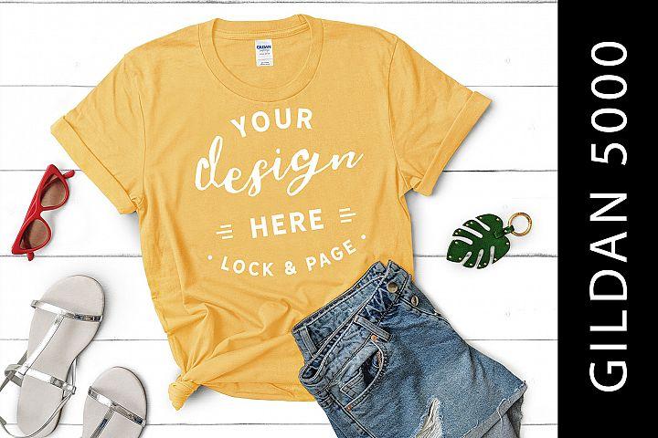 Yellow Haze Gildan 5000 Womens Knotted T-Shirt Mockup