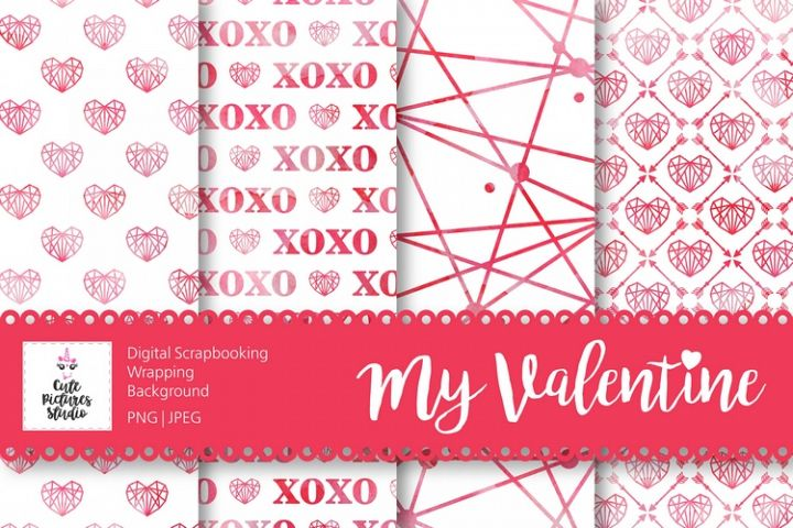 Set of digital backgrounds for printing. Valentines Day.