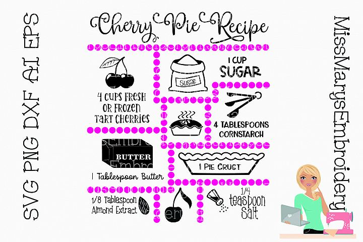 Cherry Pie Recipe SVG Cut File