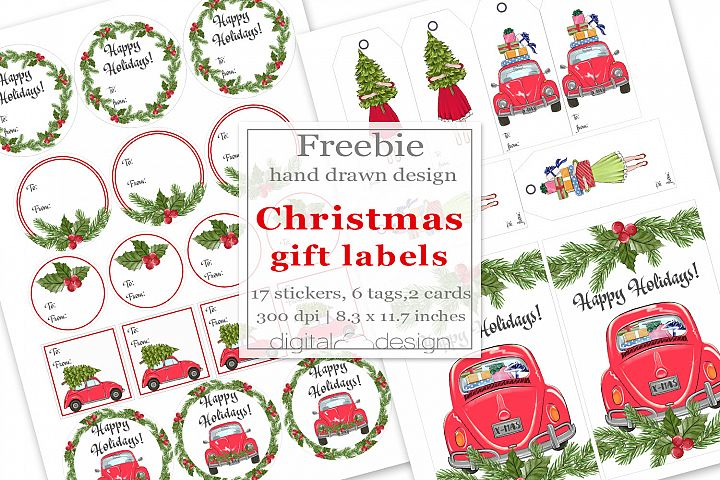 Christmas Gift Stickers Freebie Tags Cards Free DIY