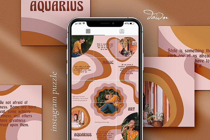 Dawn Instagram puzzle template for Canva