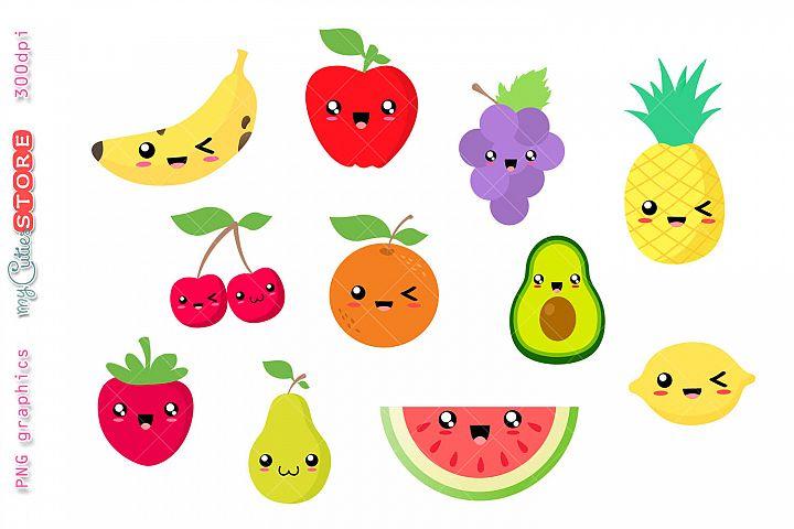 Collection of kawaii fruits clipart. Watermelon, pinneapple.