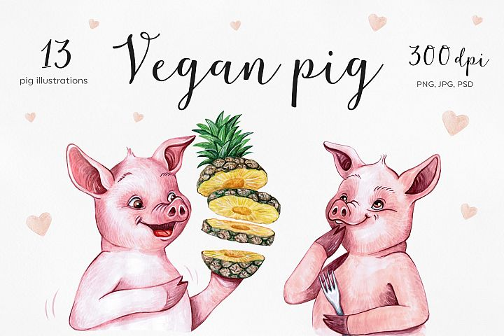Watercolor cartoon pig illustrations. Funny 13 pigs.