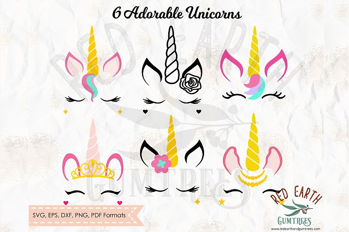 Unicorn with lashes bundle in SVG,DXF,PNG,EPS,PDF formats