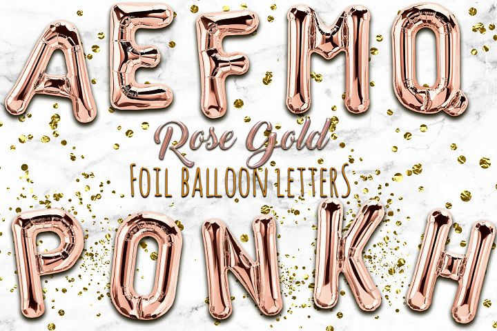 Rose Gold Foil Balloon Numbers PNG- Hand Drawn