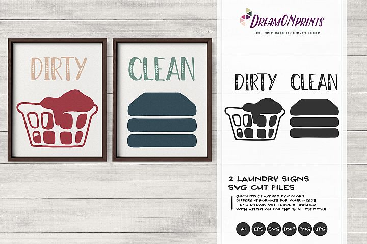 Dirty and Clean Laundry Signs Set of 2 SVG