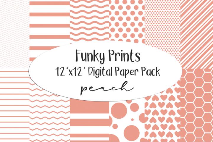 Funky Prints 12x 12 Peach Digital Paper Pack