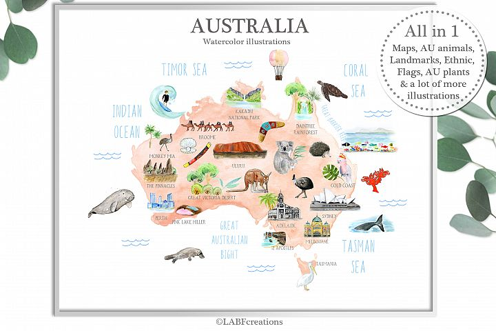 Australia Watercolor map creator