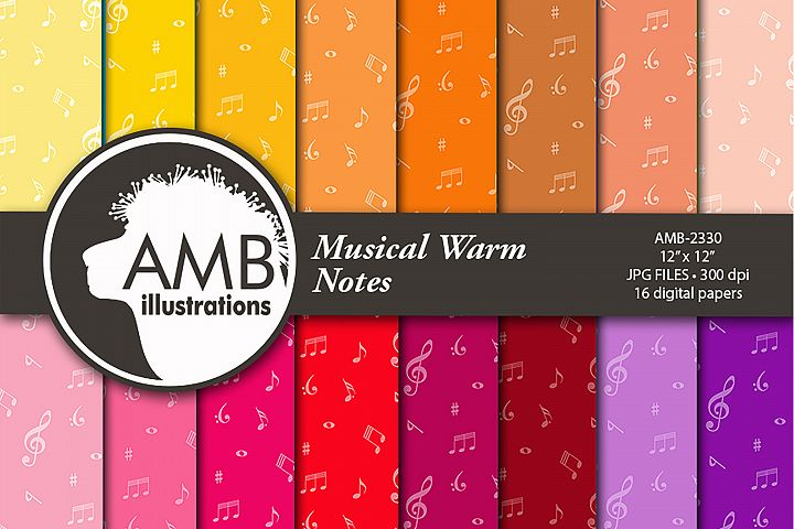 Musical Warm Notes Patterns, Musical Note Papers. AMB-2330