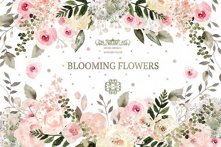 Watercolor BLOOMING flowers 146 PNG