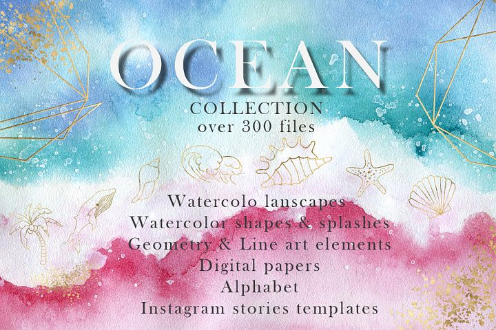 Ocean watercolor collection