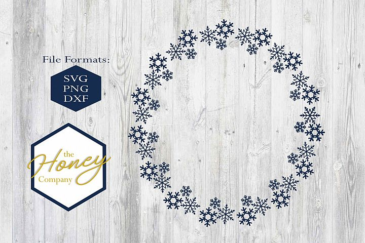 Snowflake Christmas Monogram Circle Holiday SVG PNG DXF