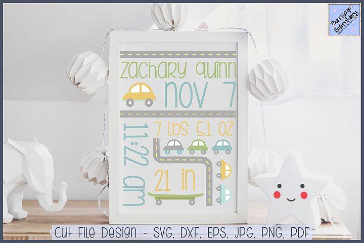 Cars Birth Announcement - SVG, Clipart, Printables