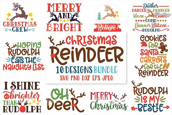Christmas Reindeer SVG Bundle, Kids, PNG, DXF, Cutting Files