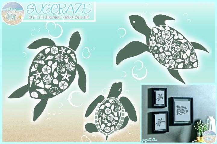 Seashell Turtle Family Mandala Zentangle SVG