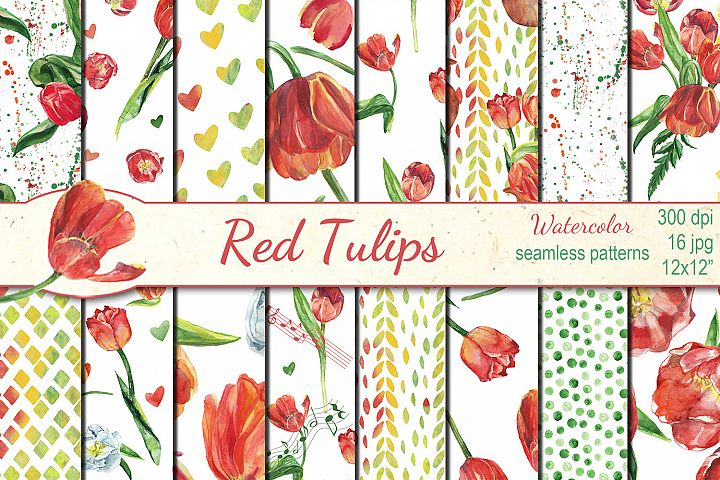 Watercolor Red Tulips seamless digital paper pack