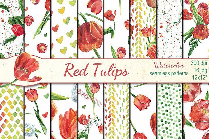 Watercolor Red Tulips seamless digital paper pack