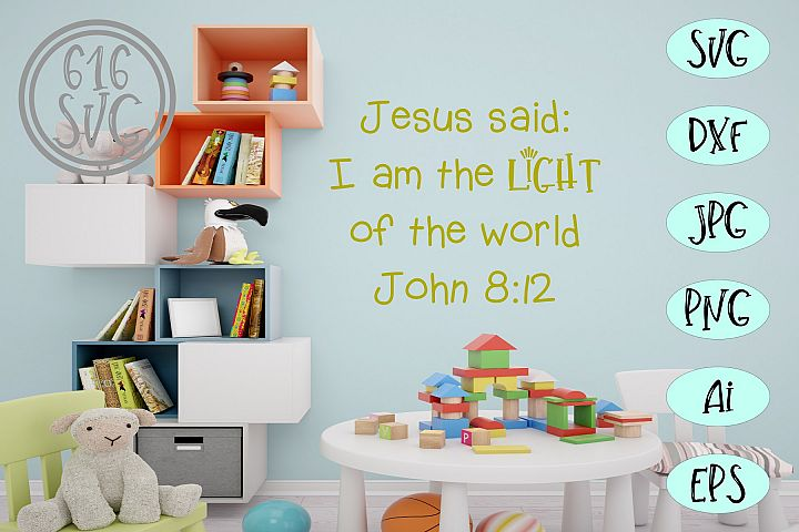 Jesus said I am the light of the world John 8 12 SVG