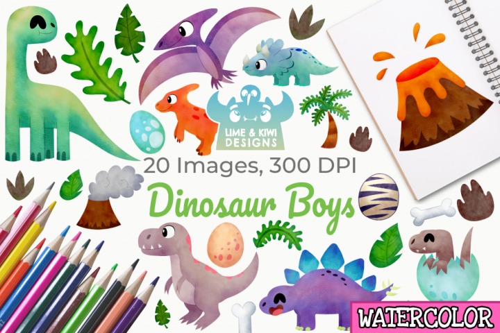 Dinosaur Boys Watercolor Clipart, Instant Download