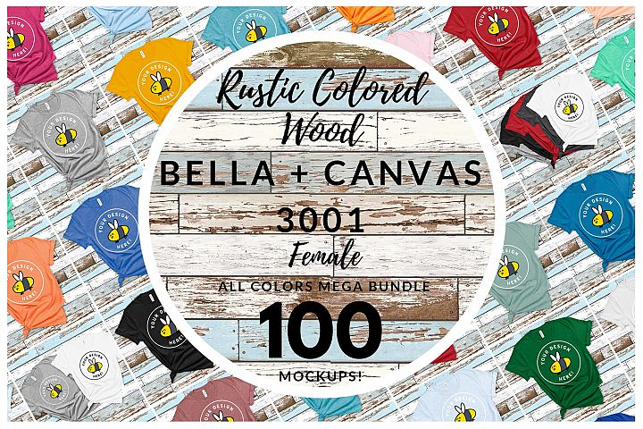 Womens Bella Canvas 3001 Mega Bundle All Colors Rustic Wood