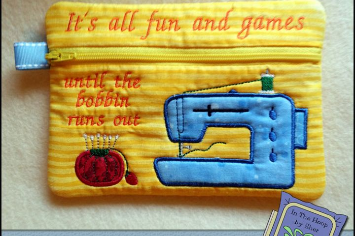 ITH Sewing Machine Zipper Bag - Fully Lined, 5X7 HOOP