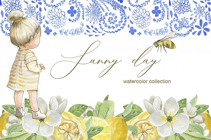 Sunny day. Watercolor collection