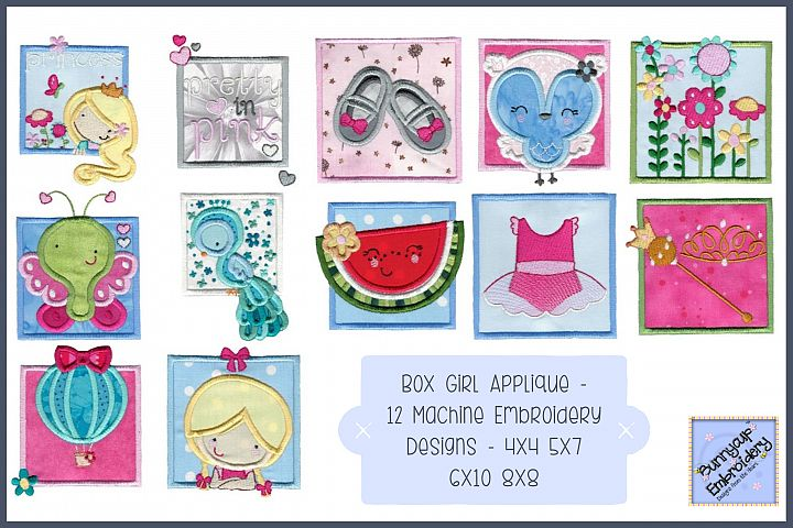 Box Girl Applique - 12 Machine Embroidery Designs