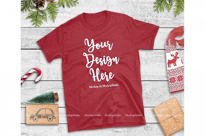 Red Christmas Tshirt Mockup Flat Lay Holiday Shirt Display