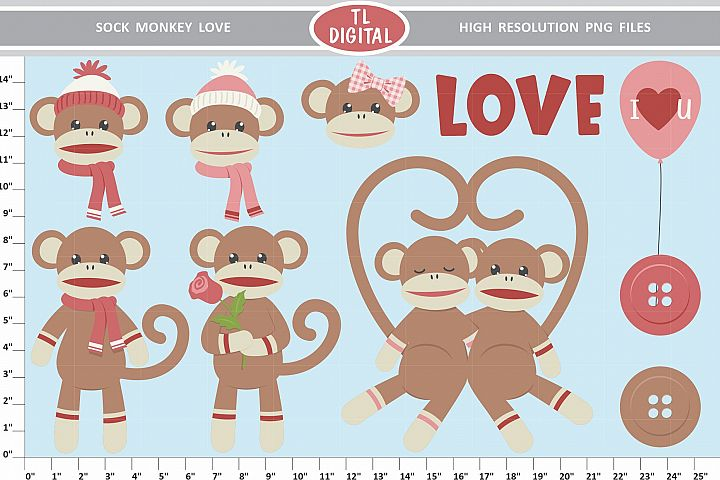Sock Monkey Love Clipart Set - 35 Valentine PNG Graphics