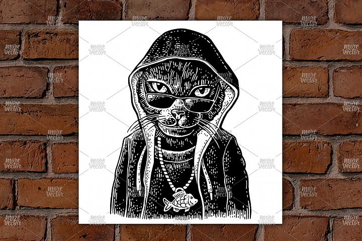 Cat rapper dressed in hoodie, necklace with fish engraving