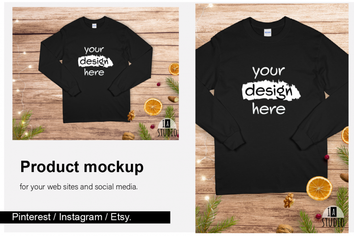 Christmas Long Sleeve Tee Mockup / Gildan 2400 / Black