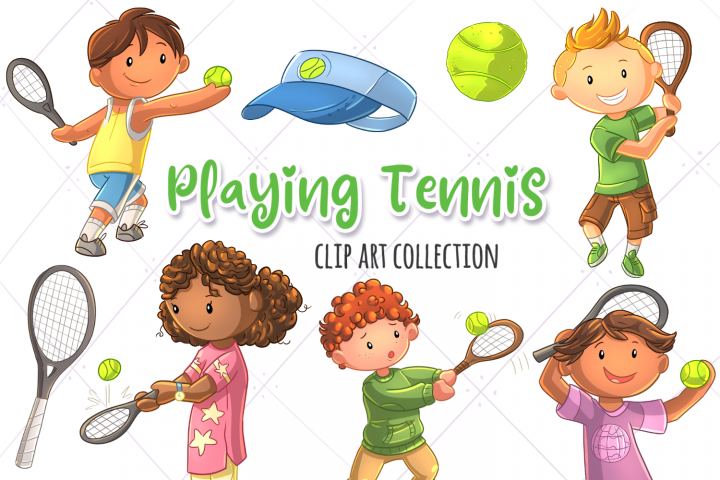 Kids Playing Tennis Clip Art Collection