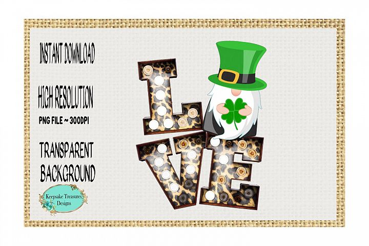 St. Patricks Day, Love Gnome, Marquee Letters