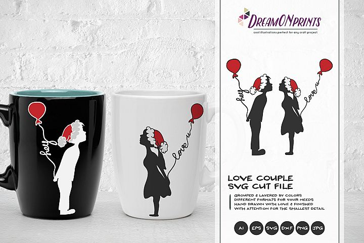 Love Couple SVG | Kissing Boy & Girl with Christmas Hats