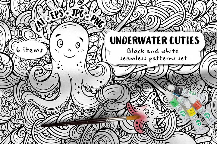Undewater cuties. Black and white seamless patterns set.
