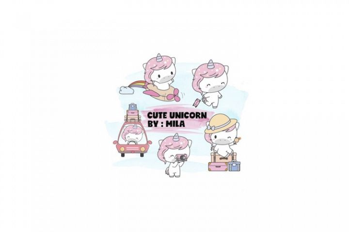 KAWAII UNICORN CLIPART BUNDLE PNG