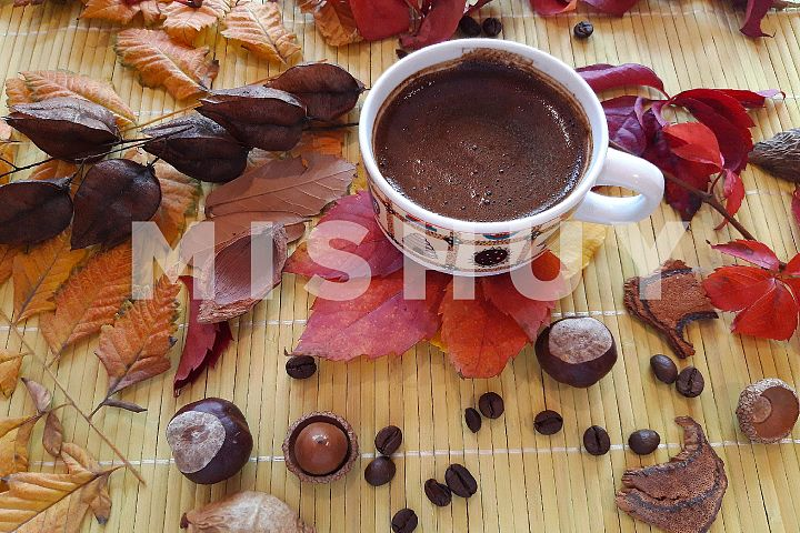 Autumn composition. Cup of coffee and autumn leaves2