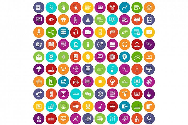 100 on-line seminar icons set color