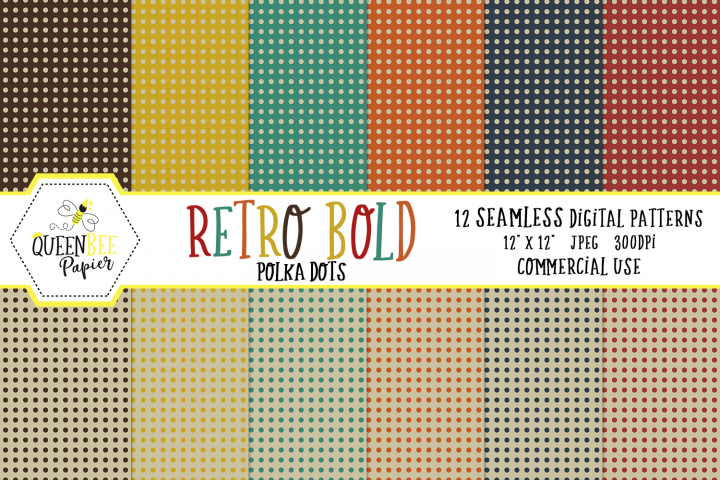 Bold Retro Polka Dots Seamless Digital Patterns