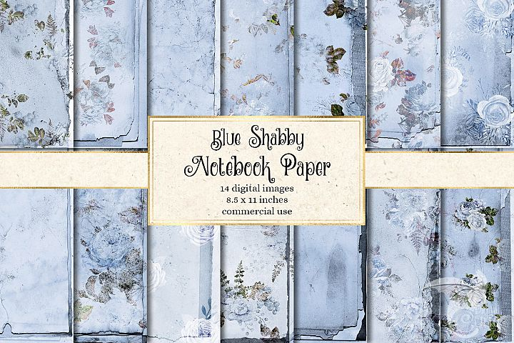 Blue Shabby Notebook Paper