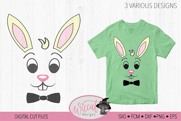 Easter bunny boy face with bow tie, 3 various designs