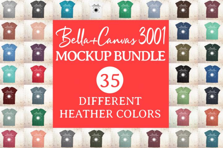 Bella Canvas 3001 T-Shirt Mock Up Bundle Heather Colors