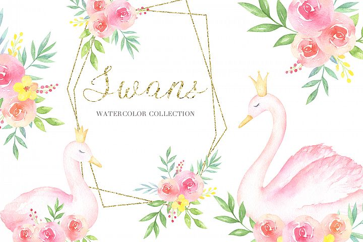 Swans Watercolor Collection of cliparts, frames and patterns