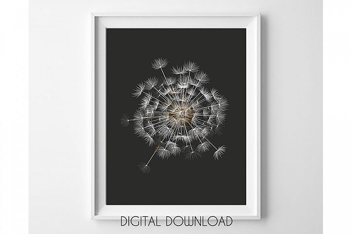 Dandelion Printable, Black Background Botanical Prints