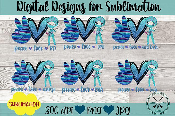 Nurse Peace Love Sublimation Bundle Hand drawn Clipart