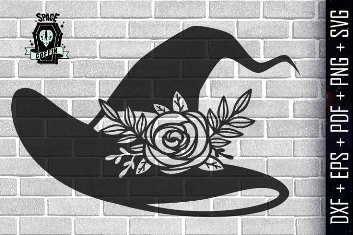 Witch Floral Hat Silhouette Vector DXF/EPS/PDF/PNG/SVG