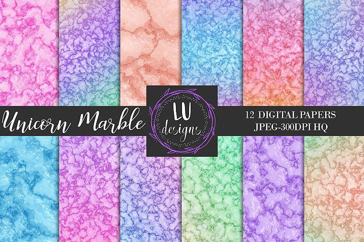 Unicorn Marble Digital Paper Pack