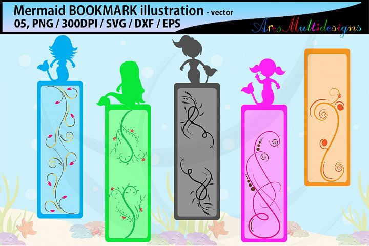 Mermaid bookmark clipart illustration / water girls bookmark / mermaid vector bookmark / mermaid / EPS / PNG / SVG / DXf