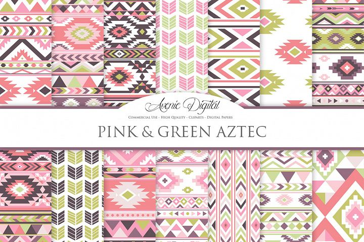 Pink and Green Boho Seamless Patterns