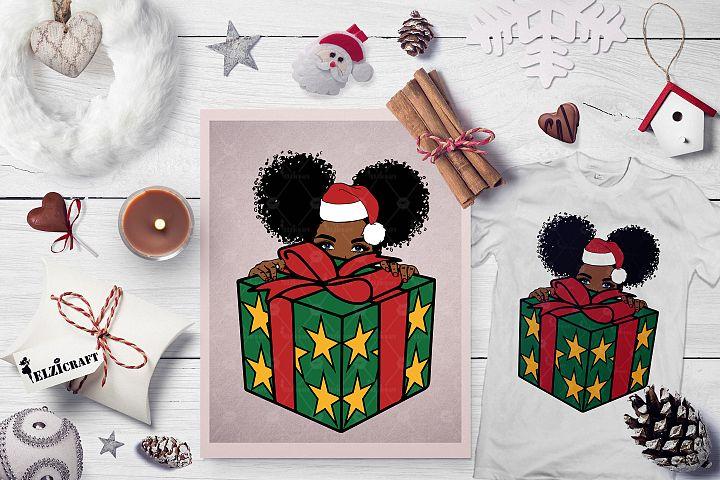 Christmas Present, Cute Afro Girl Peeking, Hat SVG Cut File
